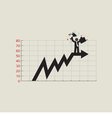 Businessman Standing On Top Of Growing Chart vector image