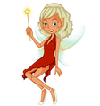 A fairy holding a yellow wand vector image