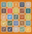 online banking line flat icons on orange vector image