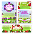 hello summer banner template with flower field vector image