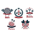 Dart game tournament icons and symbols vector image