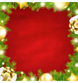 Christmas Red Background With Fir Tree Border vector image