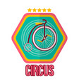 circus logotype with special bike isolated on vector image