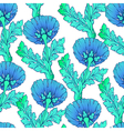 Garden blue flowers isolated on white Seamless vector image