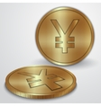 gold coins with Japanese Yen currency sign vector image