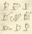 Hand drawn coffee sketch vector image