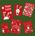 set of easter rabbits cards poster for holidays vector image