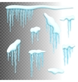 Set of snow borders with icicles vector image