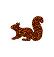squirrel rodent mammal color silhouette animal vector image
