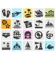 travel logo design template beach rest or vector image