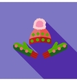 Winter cap and mittens icon flat style vector image