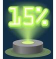 Green Neon Light Discount Sale 15 Percent vector image