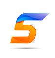 Number five 5 logo orange and blue color with fast vector image