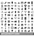 100 electricity icons set simple style vector image