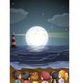 Kids watching the fullmoon at the beach vector image