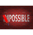 Changing the word impossible to possible vector image vector image