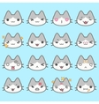 Set of simple cute cat emoticons vector image