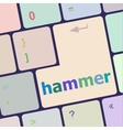 hammer word on computer pc keyboard key vector image vector image