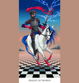 Knight of swords tarot card vector image