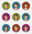 set colorful female faces circle icons trendy flat vector image