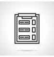 Test clipboard black line icon vector image