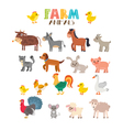 Farm animals set Cute cartoon animals vector image