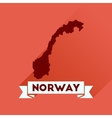 Flat icon with long shadow Norway map vector image