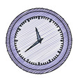 color pencil graphic of wall clock in purple thick vector image