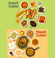 french cuisine dinner icon set for menu design vector image vector image