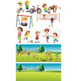 park scenes with kids playing sports vector image vector image