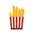 French fries in red and white striped paper box vector image