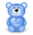 blue bear with heart vector image