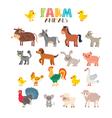Farm animals set Cute cartoon animals vector image