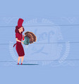 Female chef cook holding turkey cartoon chief in vector image