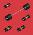 flat design elements for gym and fitness in 3d vector image