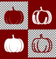 pumpkin sign bordo and white icons and vector image