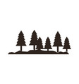 silhouette pine tree forest natural landscape vector image