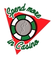 Color vintage casino emblem vector image