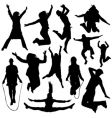 people jumping vector image vector image