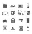 Black Household Appliances Icons Set vector image