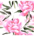 Watercolor flowers seamless pattern with peonis vector image