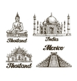 Travel Hand drawn sketch of India Thailand vector image