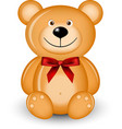 bear with red bow vector image vector image