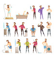 male hygiene cartoon retro style set vector image