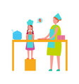 mother and daughter cooking isolated vector image
