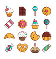 sweets candy cakes icons set cartoon style vector image