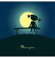 Girl sitting lonely in the moonlight vector image vector image