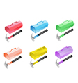 Colorful Set of Metal Toolbox Icon vector image vector image