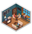 bistro isometric interior composition vector image