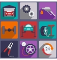 Car repair icons set with mechanic service and vector image
